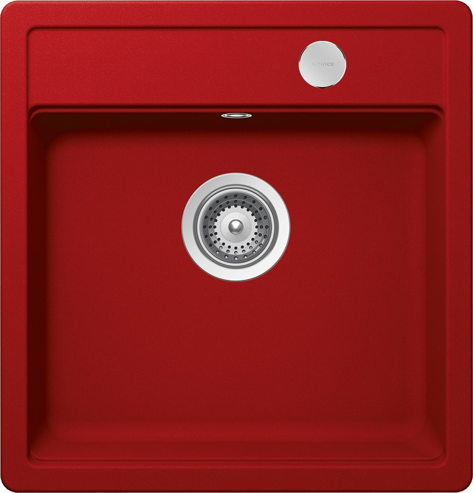 Chiuveta Granit Schock Mono N-100S Rosu Cristadur 490 x 510 mm cu Sifon Automat