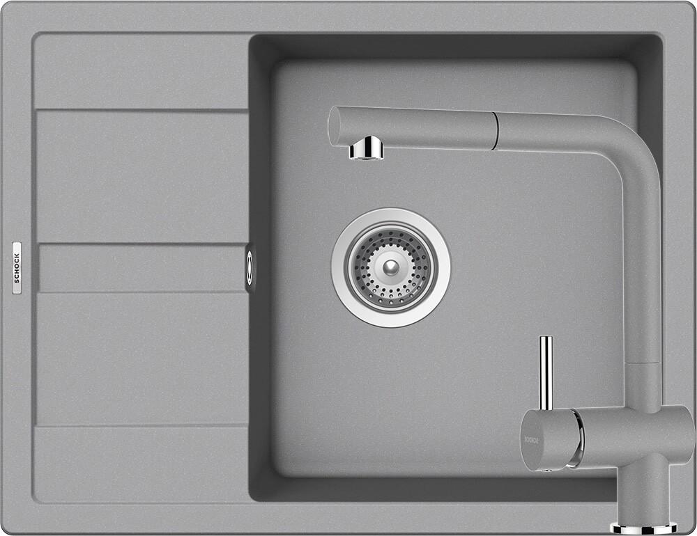 Set Chiuveta Schock Ronda D-100L 650 x 500 mm si Baterie Schock Epos cu Dus Extractibil Croma Cristalite