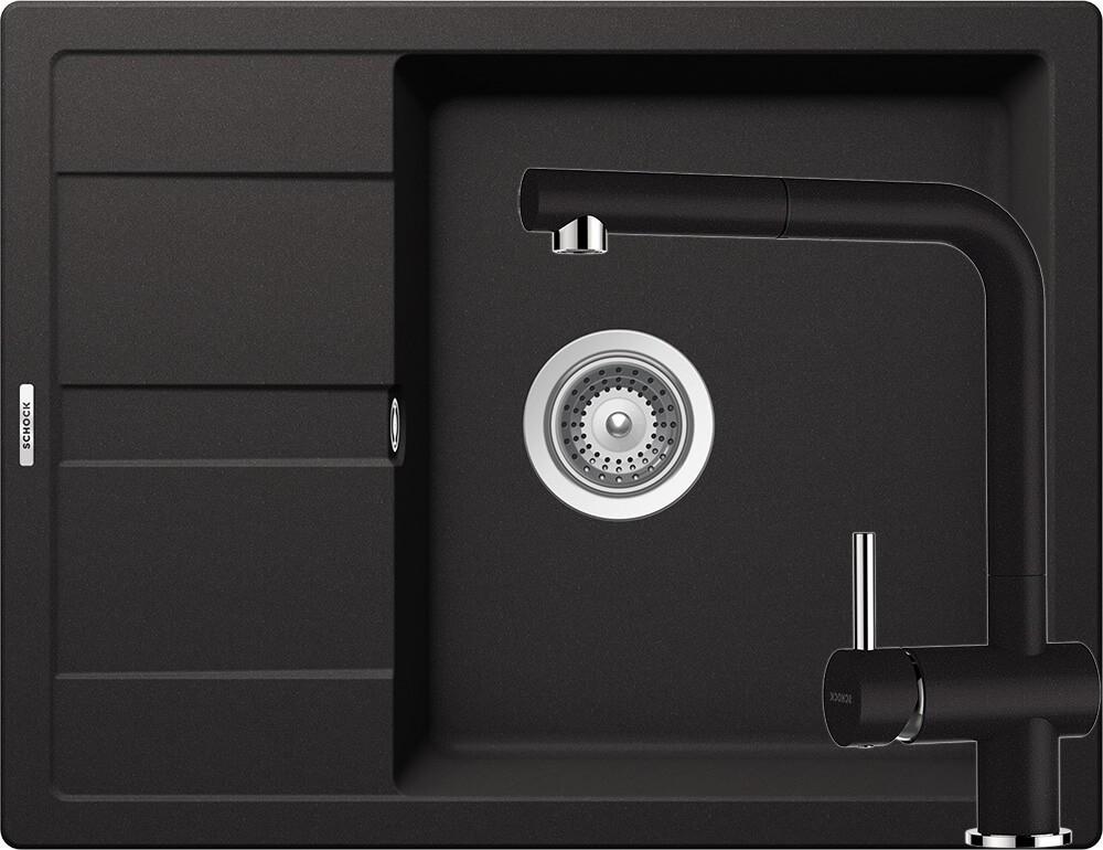 Set Chiuveta Schock Ronda D-100L 650 x 500 mm si Baterie Schock Epos cu Dus Extractibil Nero Cristalite
