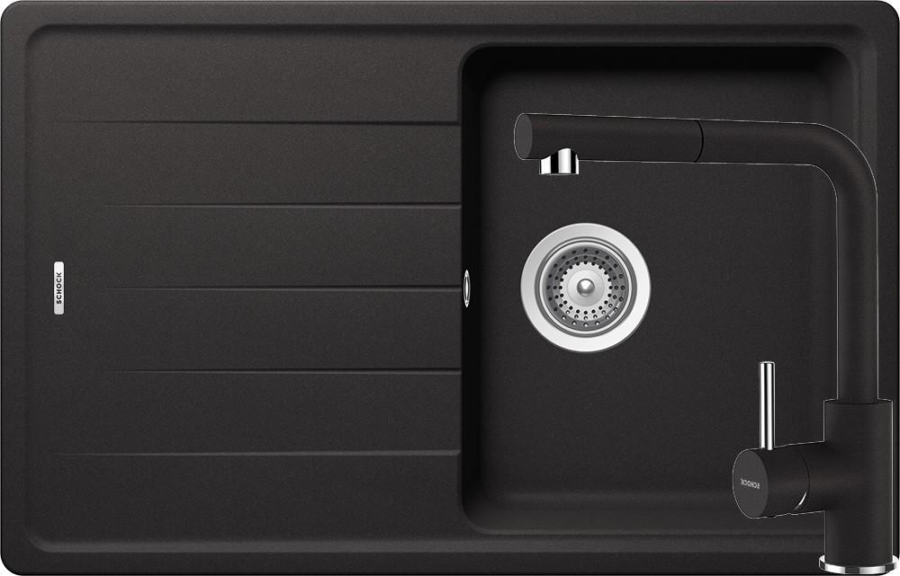 Set Chiuveta Schock Element D-100S 780 x 500 mm si Baterie Schock Napos cu Dus Extractibil Nero Cristalite