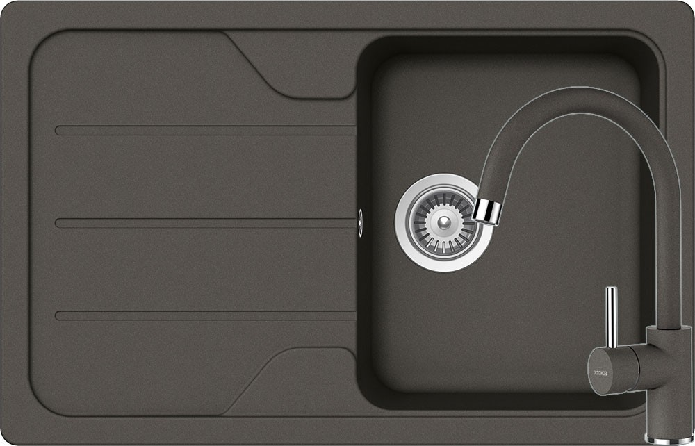 Set Chiuveta Schock Formhaus D-100S 780 x 500 mm si Baterie Schock Plutos Asphalt Cristalite