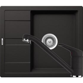 Set Chiuveta Schock Ronda D-100 580 x 500 mm si Baterie Schock Cosmo Nero Cristalite