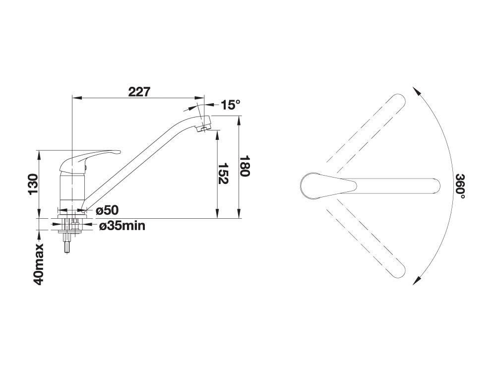 Baterie Granit Blanco Daras Antracit - Desen Tehnic