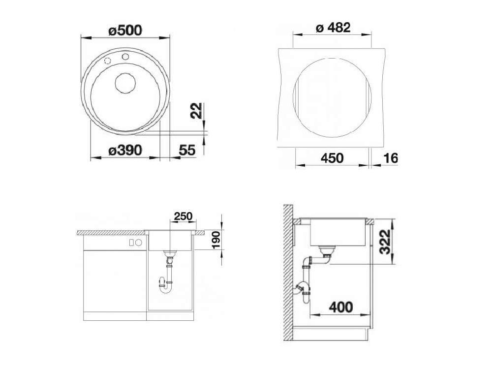 Chiuveta Granit Blanco Riona 45 Antracit 500 x 500 mm - Desen Tehnic