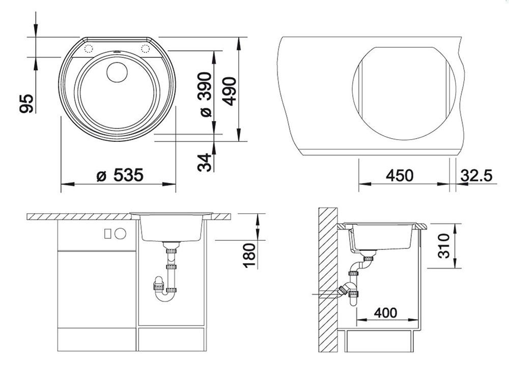 Chiuveta Granit Blanco Rondoval 45 Antracit 535 x 490 mm - Desen Tehnic