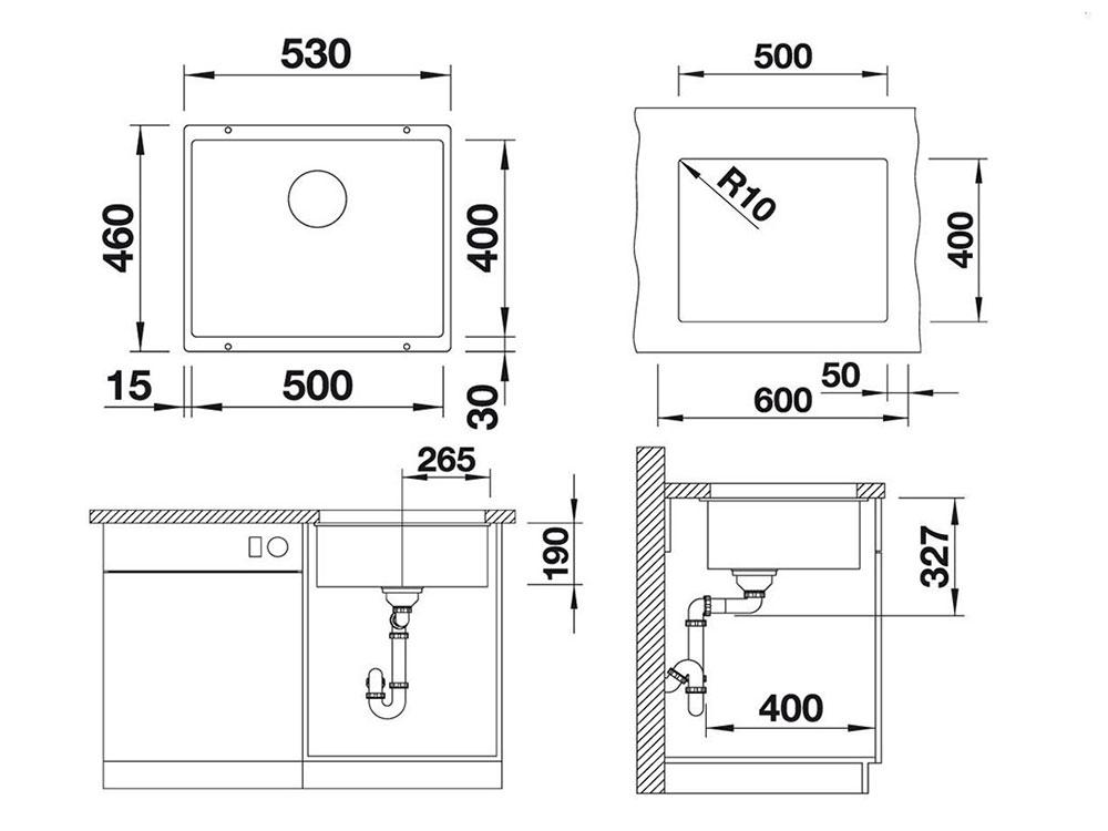 Chiuveta Granit Blanco Subline 500-U Sampanie 530 x 460 mm - Desen Tehnic