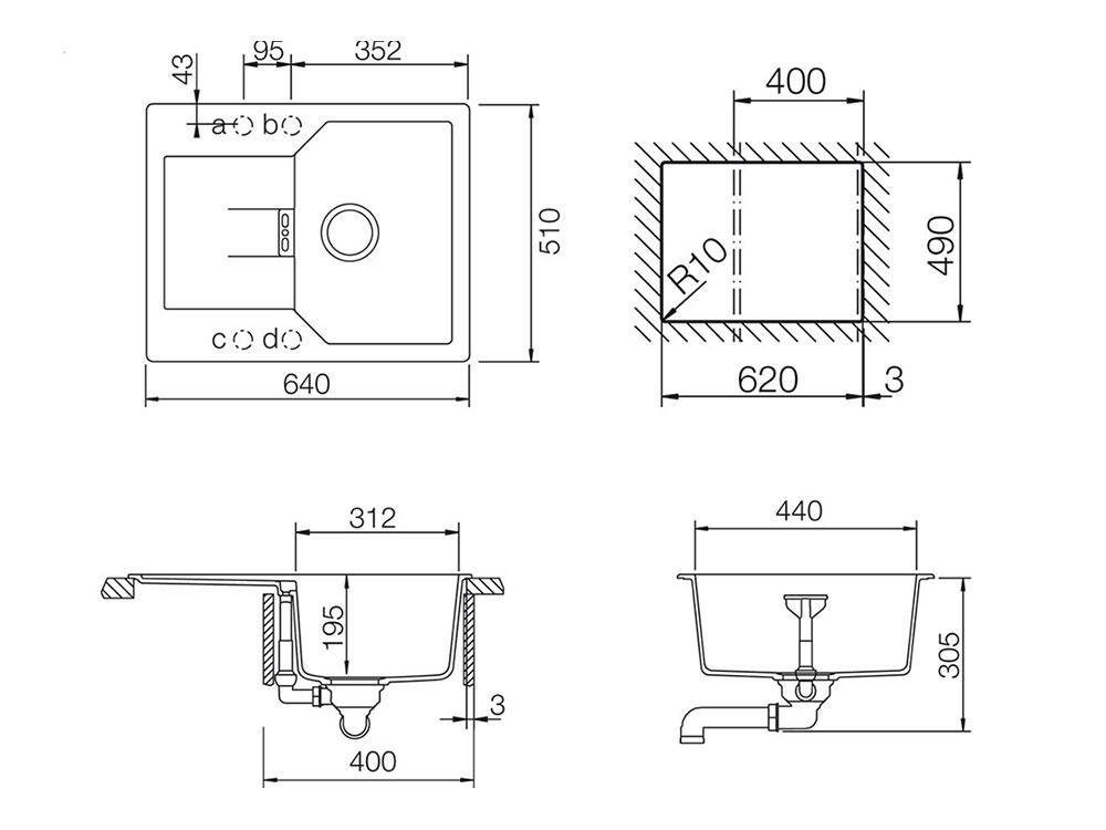 Chiuveta Granit Schock Manhattan D-100XS Alpina Cristalite 640 x 510 mm - Desen Tehnic