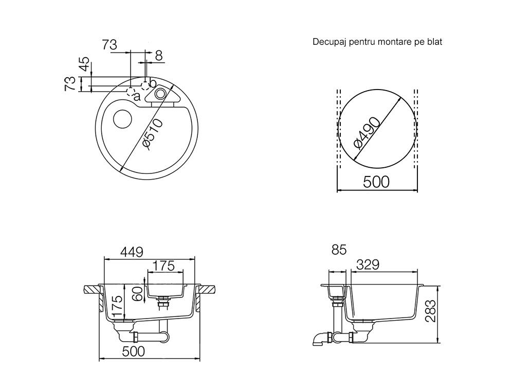 Chiuveta Granit Schock Classic R-100 Croma Cristalite 510 x 510 mm cu Sifon Automat - Desen Tehnic